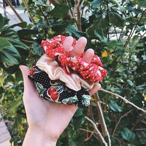 cherry and red floral hair scrunchie set of 3